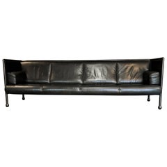 Ettore Sottsass Post-Modern Iron and Black Leather Danube Sofa for Cassina, 1992