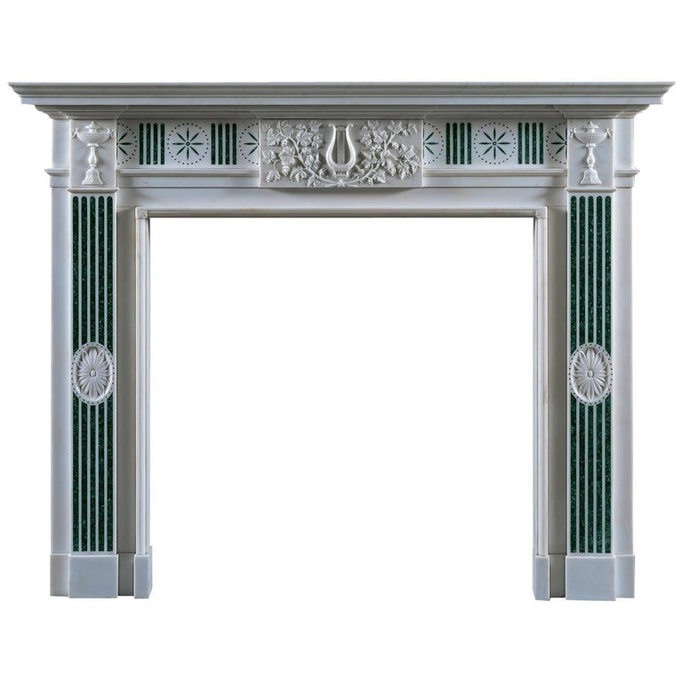 Jamb Merrion Fireplace in White Statuary Marble with Verde Antico Scagliola For Sale