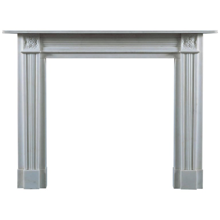 Jamb Pelham, Regency Style Fireplace in White Statuary Marble