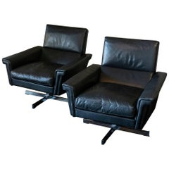Pair of Black Leather Swivel Armchairs, France, 1970s