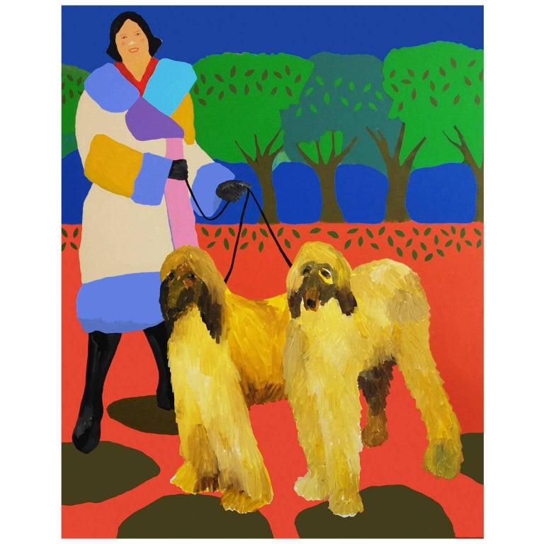 'Fresh Coats' Figurative Portrait Painting by Alan Fears Pop Art Dog Fashion For Sale