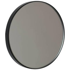 Silver Orbis Round Mirror with Black Frame - Dia. 79cm / 31.1""