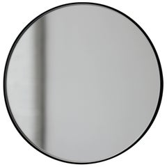 Silver Orbis Round Mirror with Black Frame - Dia. 100cm
