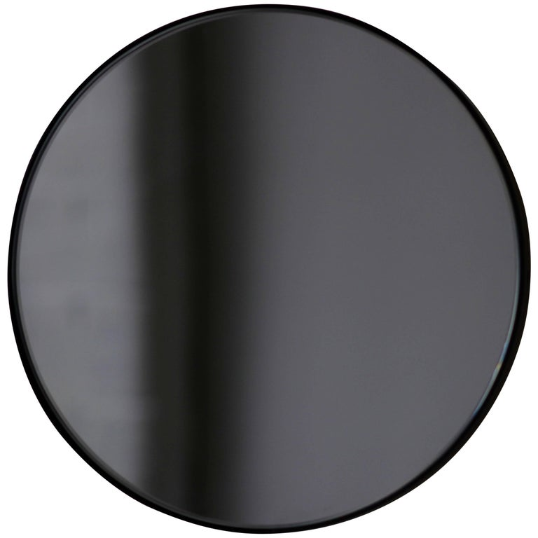 "Black Tinted Orbis Round Mirror with Black Frame - Dia 40cm / 15.8"""