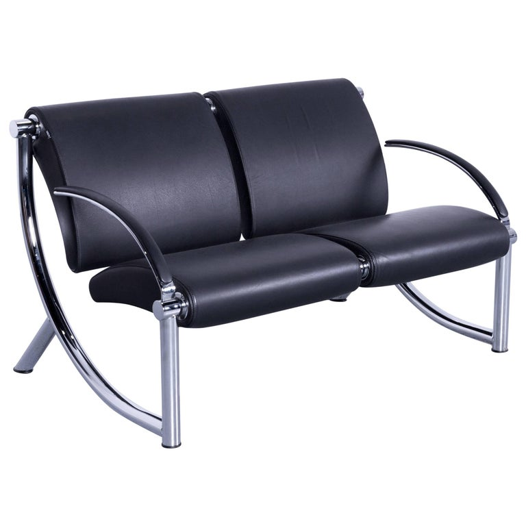 Klöber Tezett Designer Sofa in Black Leather with Chrome Frame Made in Germany