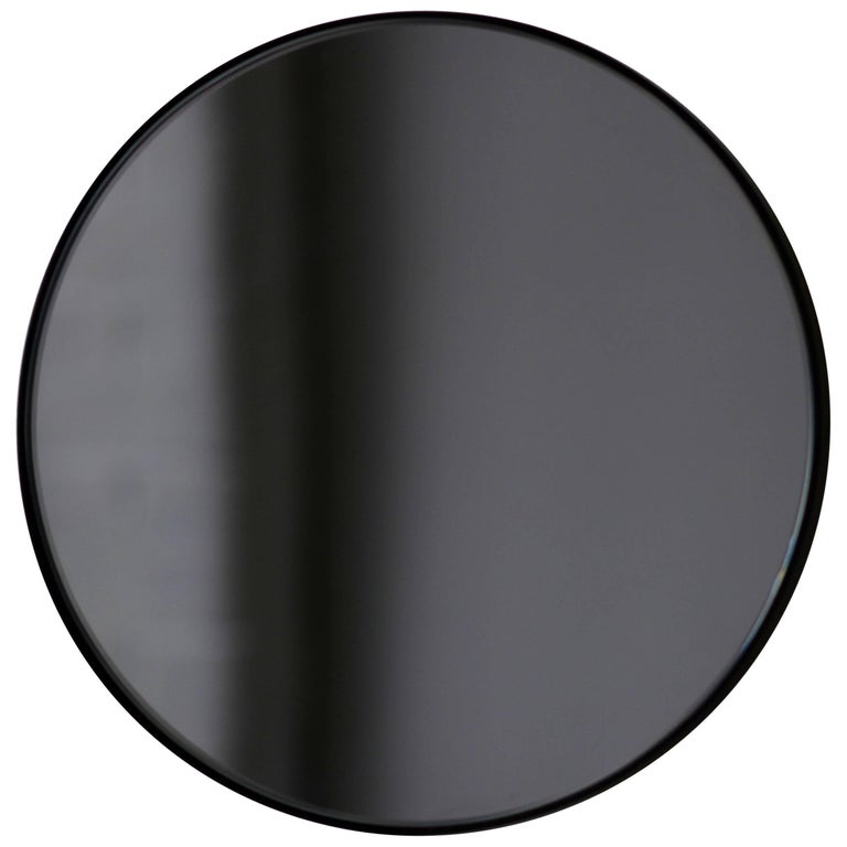 Black Tinted Orbis Round Mirror With Frame Dia 79cm 31 1