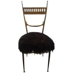 Italian Brass Chiavari Chair Upholstered in Black Mongolian Lambs Wool