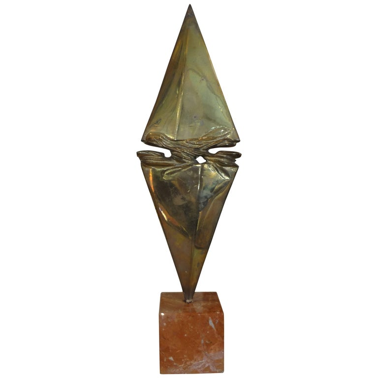 Mid-Century Modern Bronze Sculpture on Marble Base