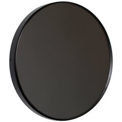 Black Tinted Orbis Round Mirror with Brass Frame - Dia. 100cm