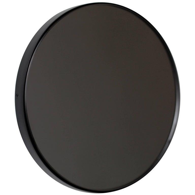 "Black Tinted Orbis Round Mirror with Brass Frame - Dia. 100cm / 39.4"""