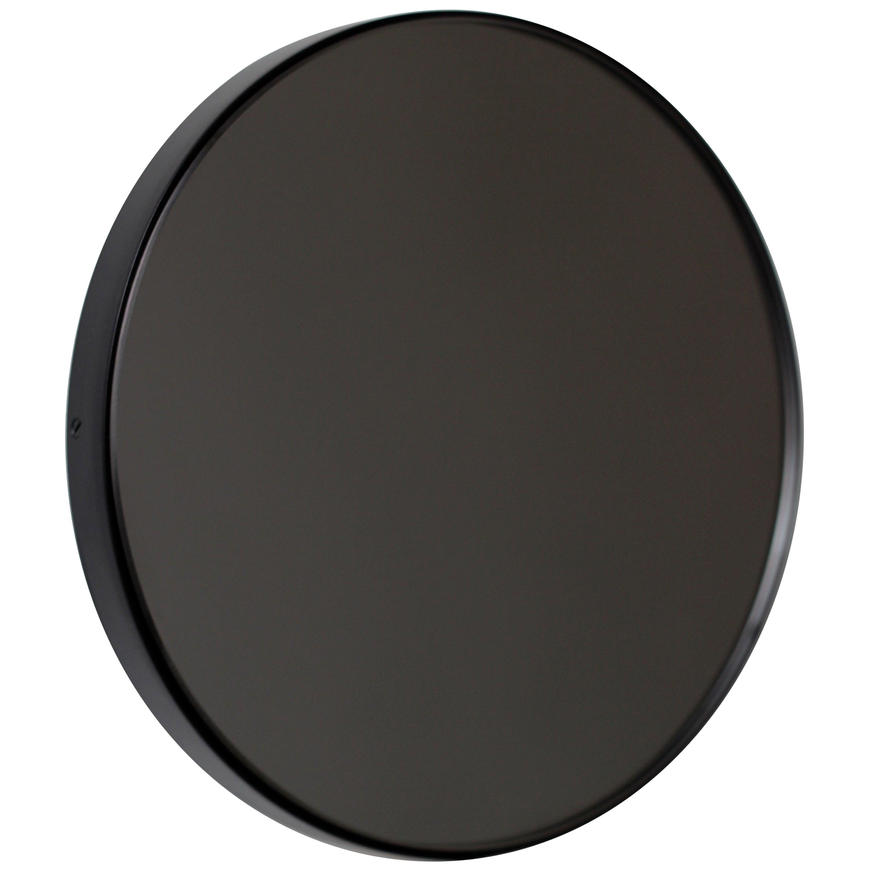 Orbis™ Black Tinted Modern Art Deco Round Mirror with Black Frame - Oversized