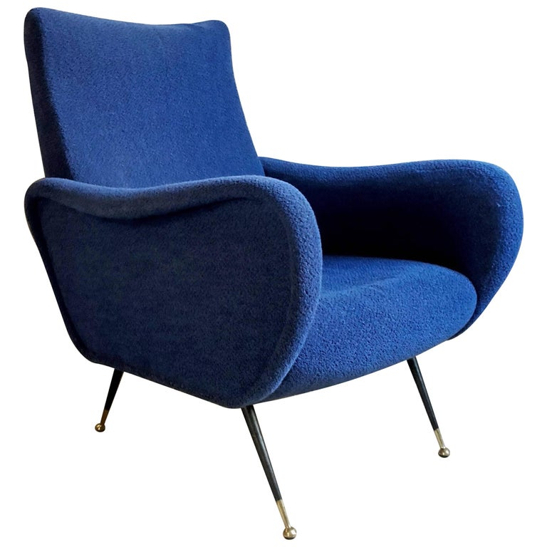 Midcentury Blue Velvet Italian Armchair in the style of Marco Zanuso, 1950s For Sale
