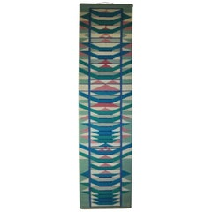 Scandinavian Handwoven Tapestry, Pink, Blue and Turquoise Colors