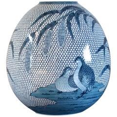 Japanese Imari Hand-Painted Blue Porcelain Vase by Master Artist