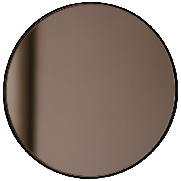 Bronze Tinted Orbis Round Mirror with Black Frame - Dia. 100cm / 39.4""