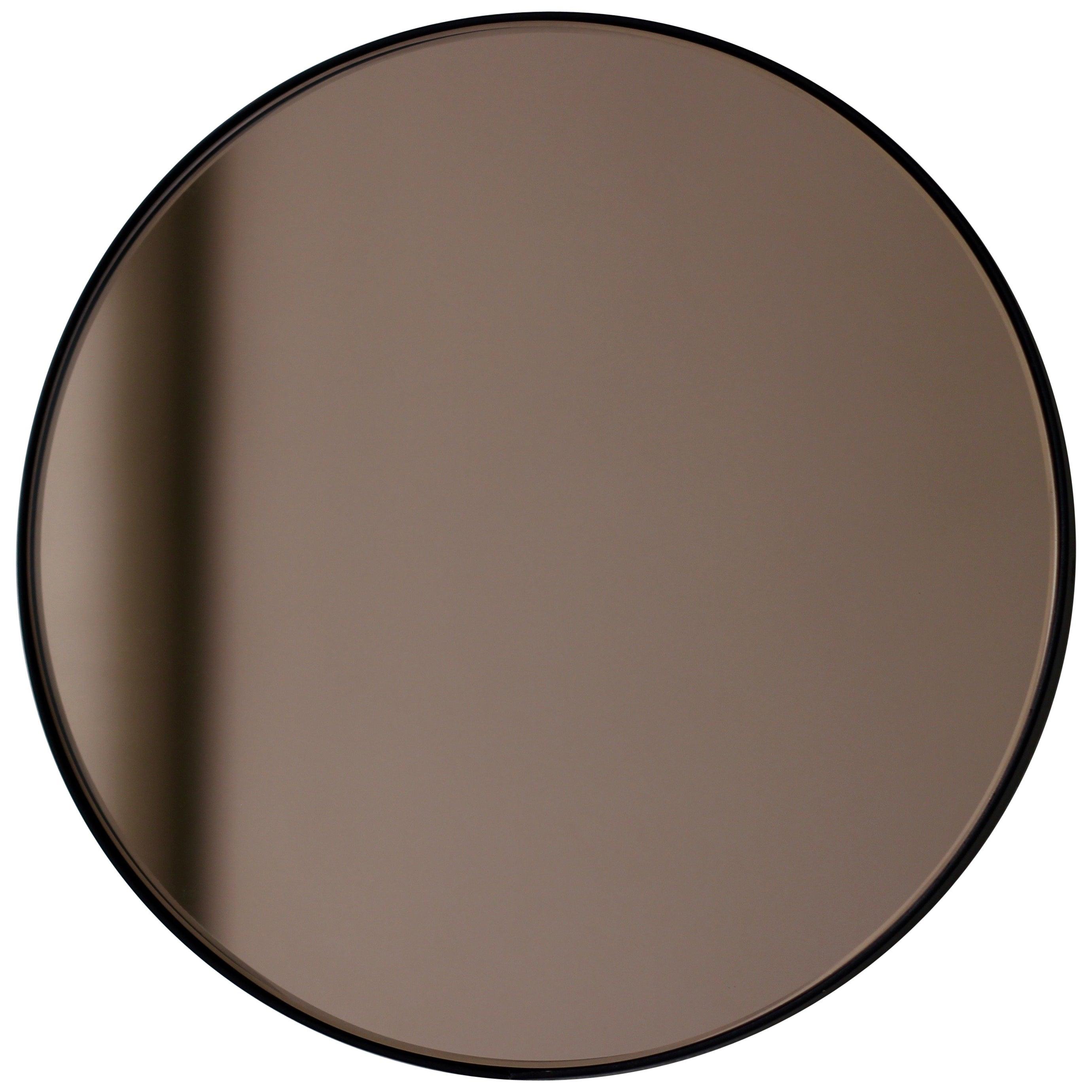 Orbis™  Bronze Tinted Modern Art Deco Round Mirror with Black Frame, Oversized