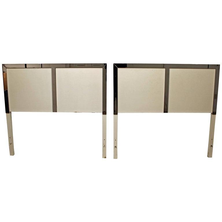 Pair of Mid-Century Modern Milo Baughman Style Twin Size Headboards
