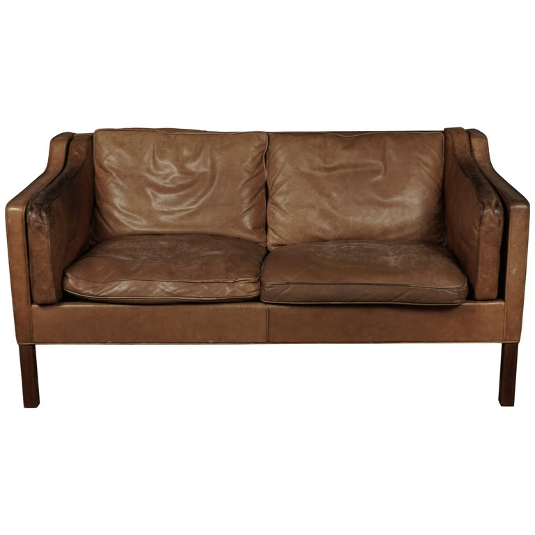 Borge Mogensen Two-Seat Sofa in Brown Leather, Model 2213 For Sale
