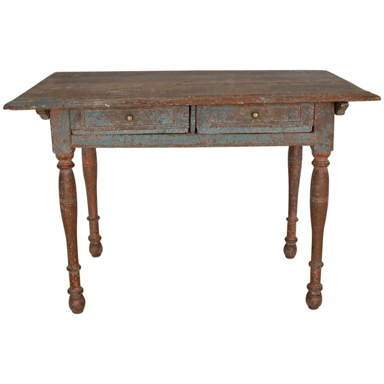 Swedish Baroque Allmoge Table with Two Drawers, circa 1750