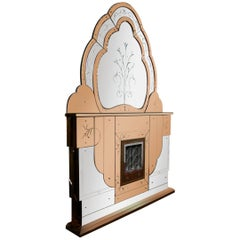 1930s Art Deco Electric Fireplace with Beveled Two Colored Overmantel Mirror