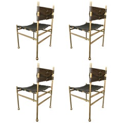 Set of 4 Chairs Brass and Leather by Frigerio, Italy, 1970s