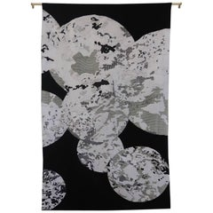 Handcrafted Embroidered Tapestry Textile Circles Black and White