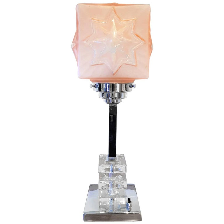 Art Deco Original Chrome Table Lamp with Tiered Glass Blocks