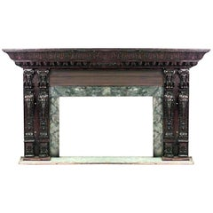 Italian Renaissance Style '19th Century' Large Carved Walnut Fireplace Mantel