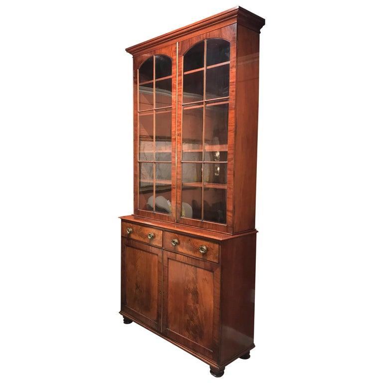 Grand 19th Century English Two-Piece Mahogany Stepback Bookcase or China Cabinet