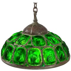 "Tiffany Studios Green Opalescent ""Turtleback"" Tile Chandelier"