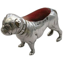 Edwardian Novelty Silver Bulldog Pin Cushion by Adie & Lovekin, Birmingham, 1906