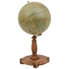 Vintage French Globe with Wooden Stand