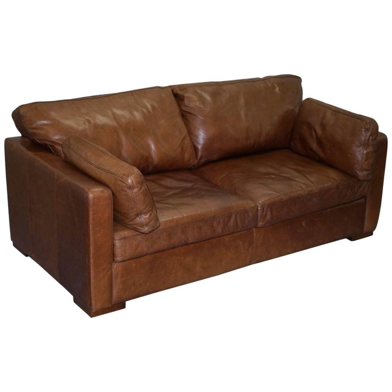 Lovely House of Fraser Aged Brown Leather Sofabed Heritage Upholstery