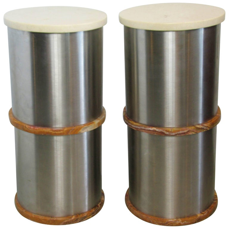 Pair of Italian Modern Stainless Steel Travertine and Onyx Side Tables, Saporiti