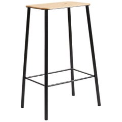 Contemporary Adam Stool in Oak with Black Frame H65