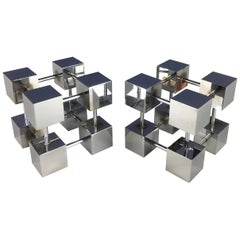 Midcentury Design Line Inc. Bill Curry Stainless Modernist Cube Bookends