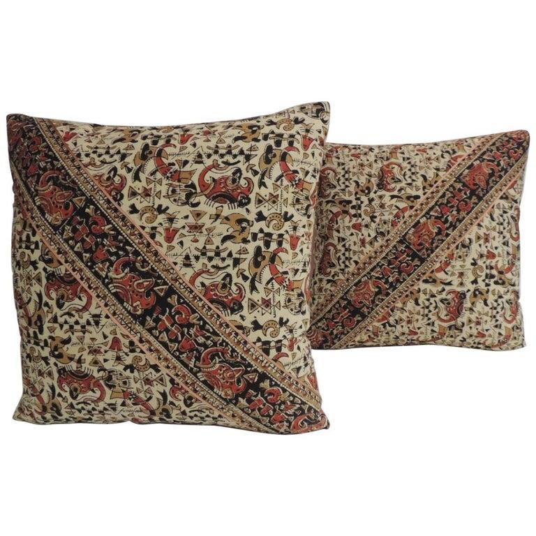 Pair of Vintage Persian Hand-Blocked Kalamkari Square Throw Pillows