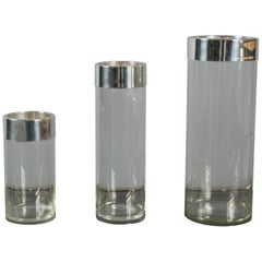 Set of Three Vases with Silver Plated Rim, Italy, 1960s