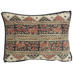 Vintage Persian Hand-Blocked Kalamkari Bolster Throw Pillow