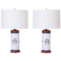 Pair of Armorial Porcelain Lamps
