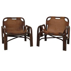 Midcentury Bamboo and Leather Lounge Armchairs by Bonacina, 1963, Set of Two