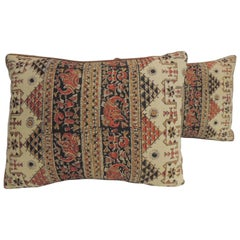 Pair of Vintage Persian Hand-Blocked Kalamkari Bolster Decorative Throw Pillows