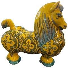 Italian Glazed Terra Cotta Horse Sculpture