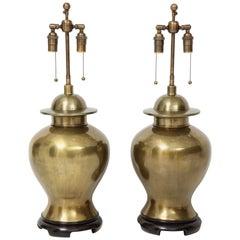 Pair of Large Brass Ginger Jar Lamps