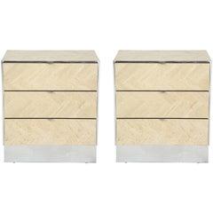 Pair of Ello Travertine Cabinets