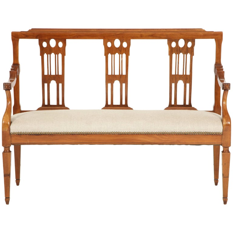 Italian Fruitwood Bench For Sale