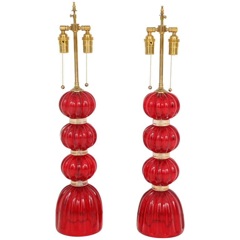 Pair of Red Murano Glass Lamps For Sale