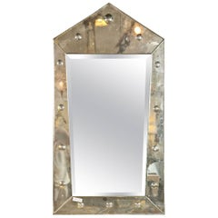 Hollywood Regency Venetian Style Rare Pyramid Design Bevelled Mirror