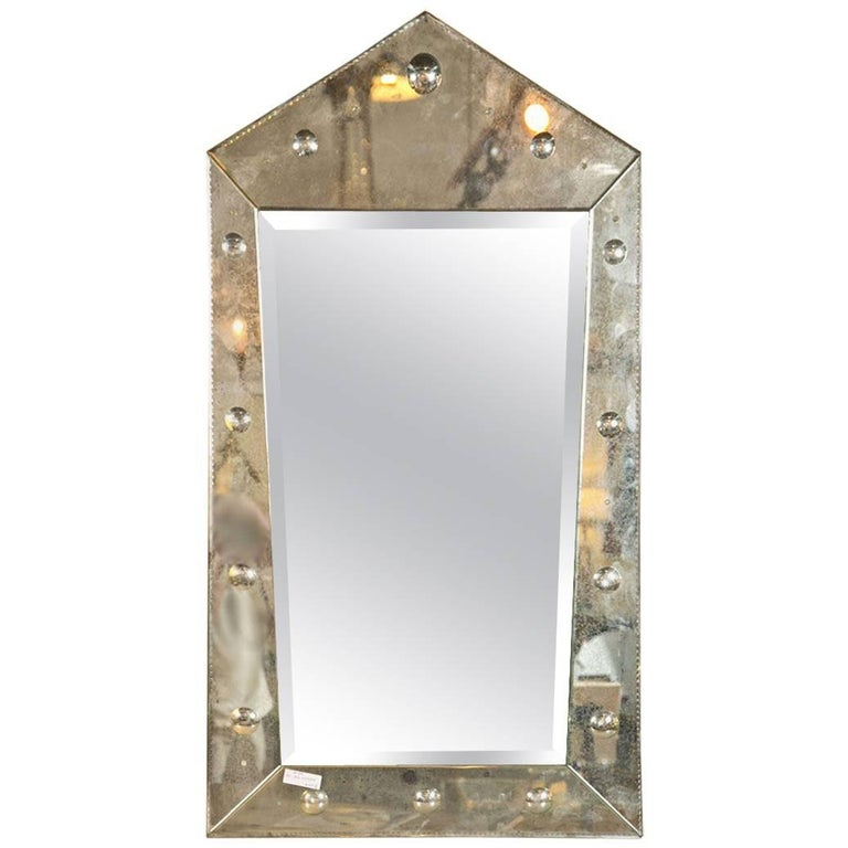 Hollywood Regency Venetian Style Rare Pyramid Design Bevelled Mirror