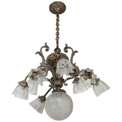 Late Victorian Ten-Light Bronze and Etched Glass Chandelier